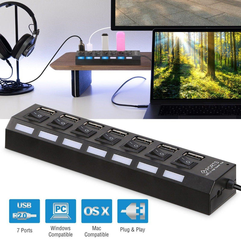 7 Port USB 2.0 Hub High Speed Multiport Gadgets & Accessories - DailySale