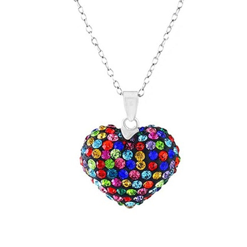Bubble Heart Pendant in Solid Sterling Silver Made with Swarovski Elements - DailySale, Inc