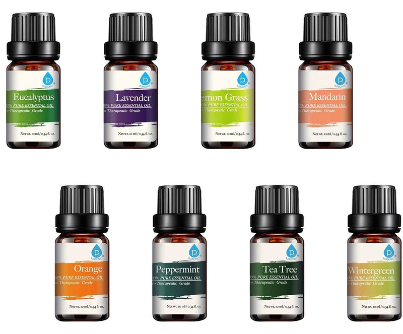 8-Pack: Pursonic 100% Pure Aromatherapy Essential Oils Set Wellness & Fitness - DailySale