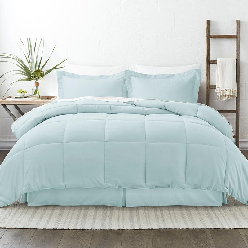 8-Piece: Bed in a Box Hypoallergenic Double Brushed Deep Pocket Set Bedding Twin Aqua - DailySale