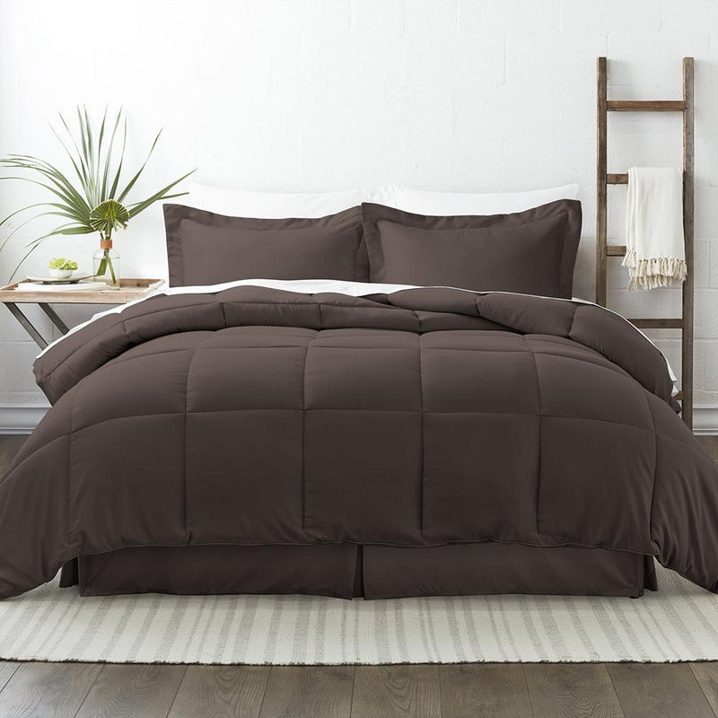 8-Piece: Bed in a Box Hypoallergenic Double Brushed Deep Pocket Set Bedding Twin Chocolate - DailySale