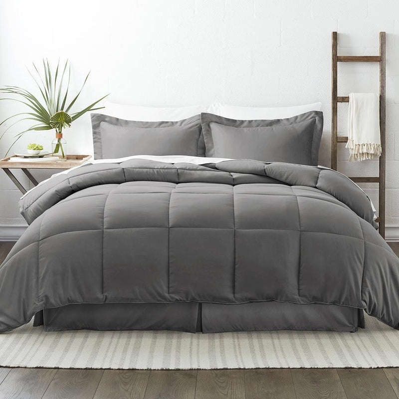 8-Piece: Bed in a Box Hypoallergenic Double Brushed Deep Pocket Set Bedding Twin Gray - DailySale