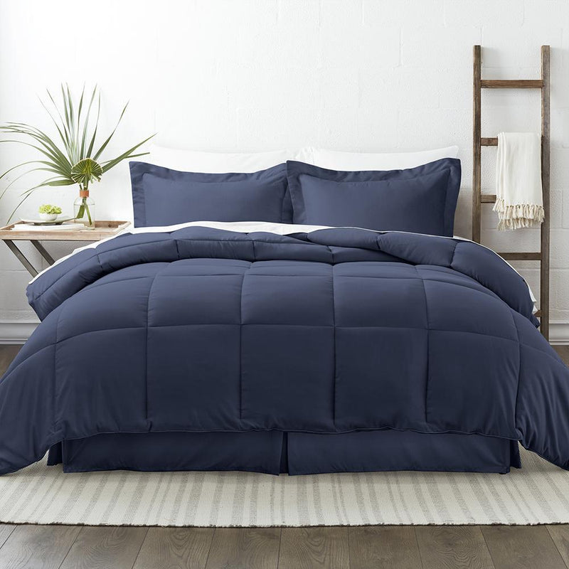 8-Piece: Bed in a Box Hypoallergenic Double Brushed Deep Pocket Set Bedding Twin Navy - DailySale
