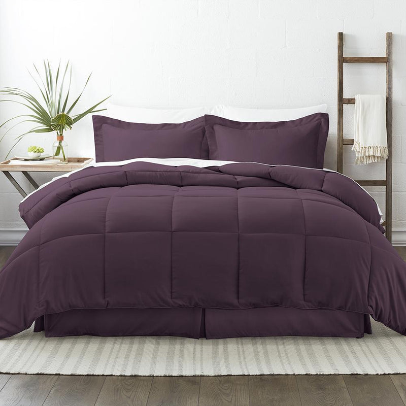 8-Piece: Bed in a Box Hypoallergenic Double Brushed Deep Pocket Set Bedding Twin Purple - DailySale