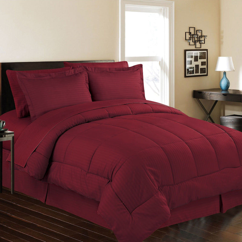 8-Piece: Embossed Bed Set Bed & Bath Queen Burgundy - DailySale