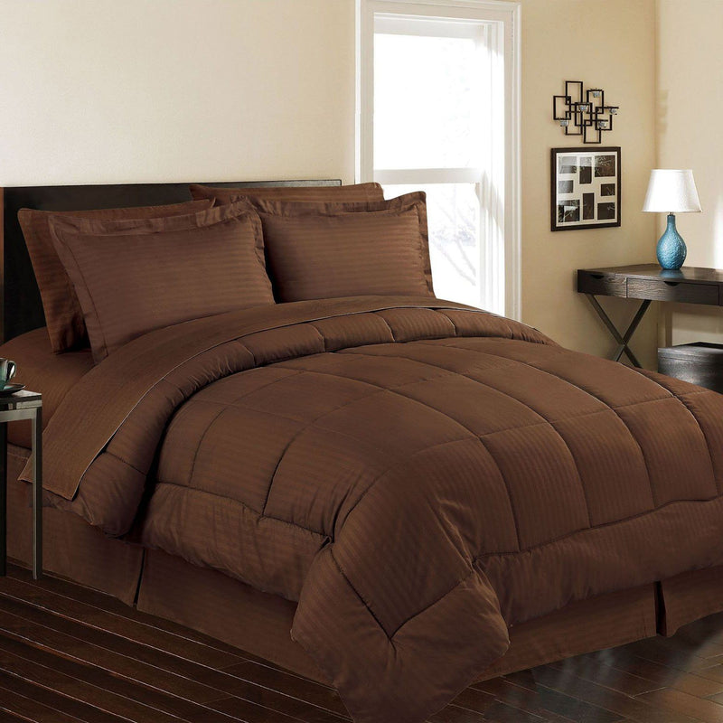 8-Piece: Embossed Bed Set Bed & Bath Queen Chocolate - DailySale