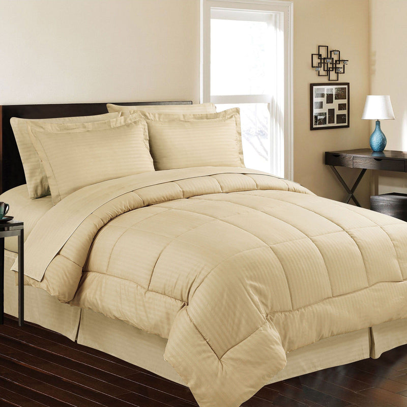 8-Piece: Embossed Bed Set Bed & Bath Queen Mocha - DailySale