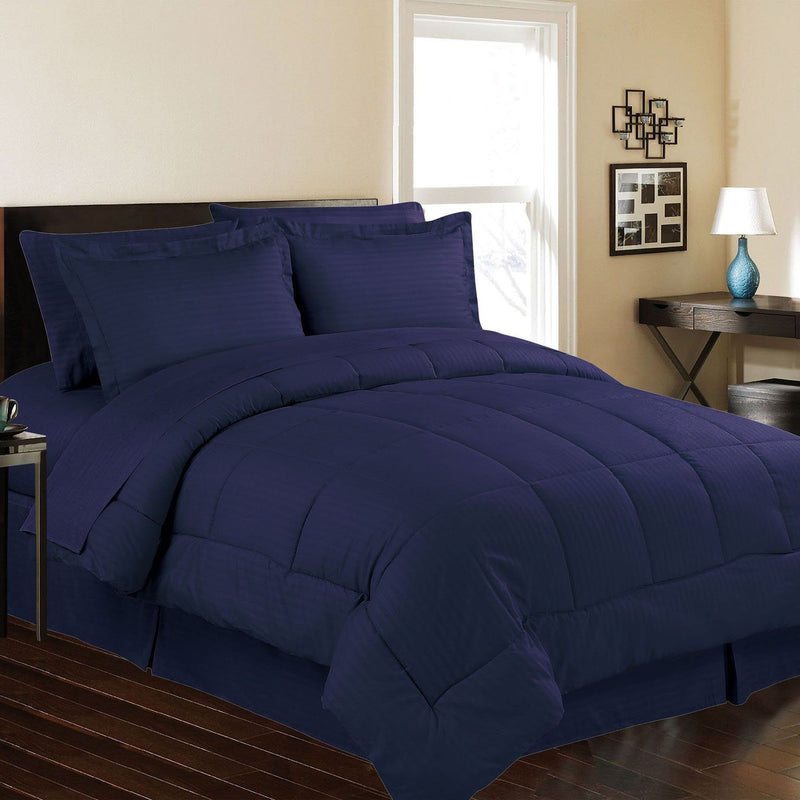 8-Piece: Embossed Bed Set Bed & Bath Queen Navy - DailySale