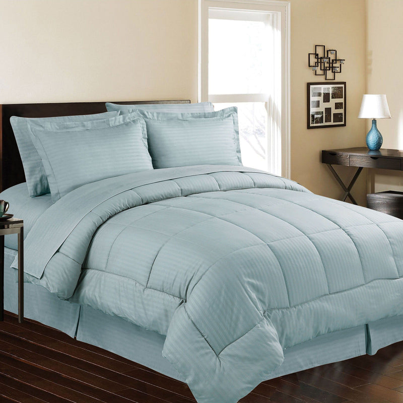 8-Piece: Embossed Bed Set Bed & Bath Queen Ocean Blue - DailySale