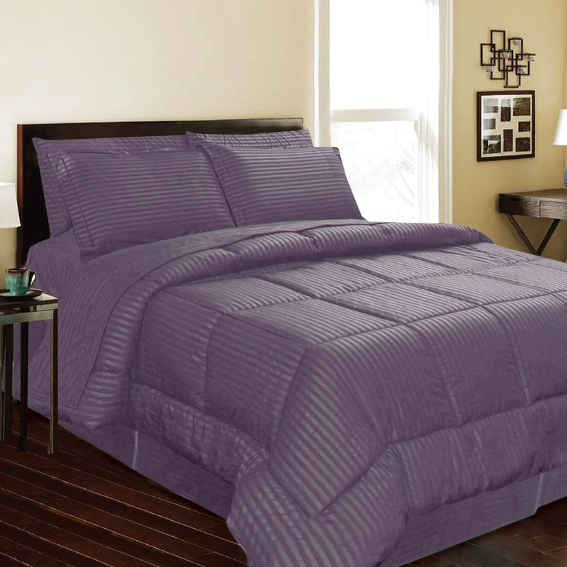 8-Piece: Embossed Bed Set Bed & Bath Queen Purple - DailySale