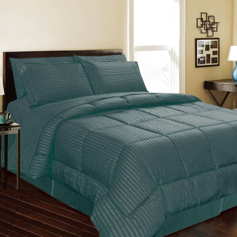8-Piece: Embossed Bed Set Bed & Bath Queen Teal - DailySale