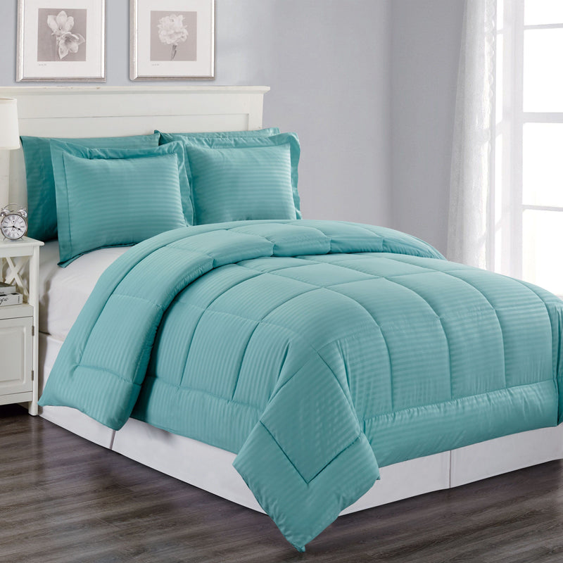 8-Piece: Embossed Bed Set Bed & Bath Queen Turquoise - DailySale