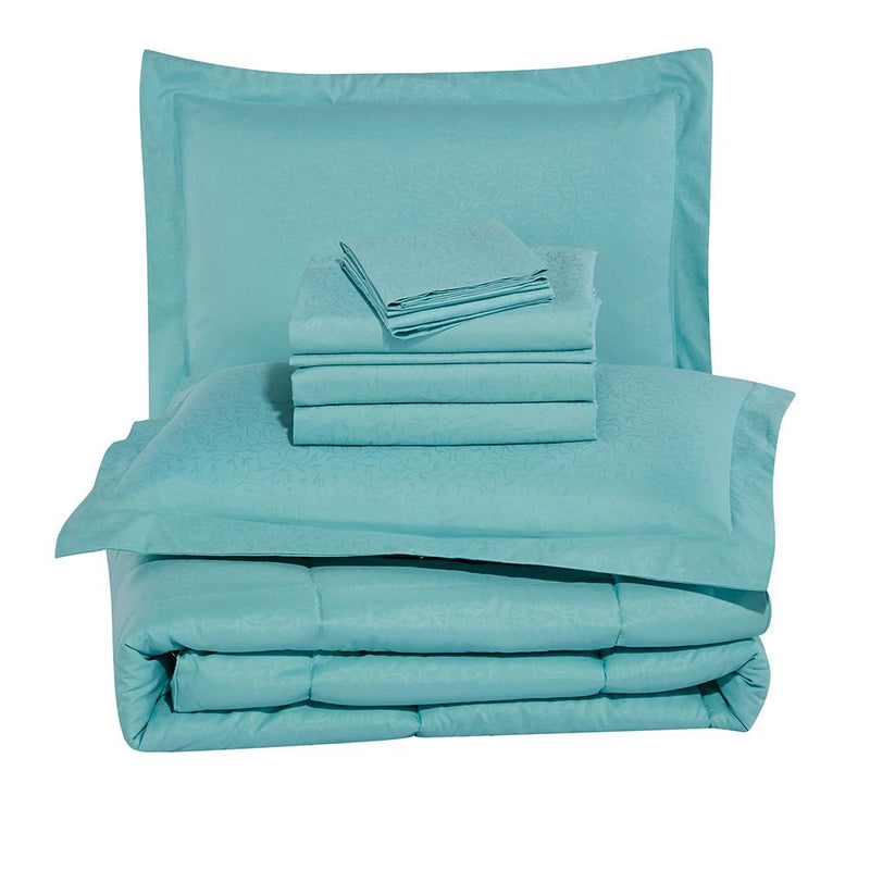 8-Piece: Plazatex Vine Microfiber Comforter Bed in A Bag Set Bed & Bath - DailySale