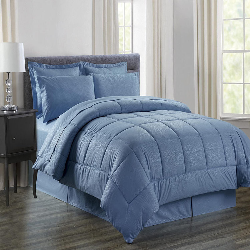 8-Piece: Plazatex Vine Microfiber Comforter Bed in A Bag Set Bed & Bath King Ocean Blue - DailySale