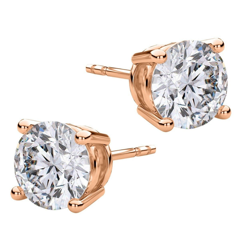 8.00 CTW Round Stud Earrings - Assorted Styles Jewelry Rose Gold - DailySale