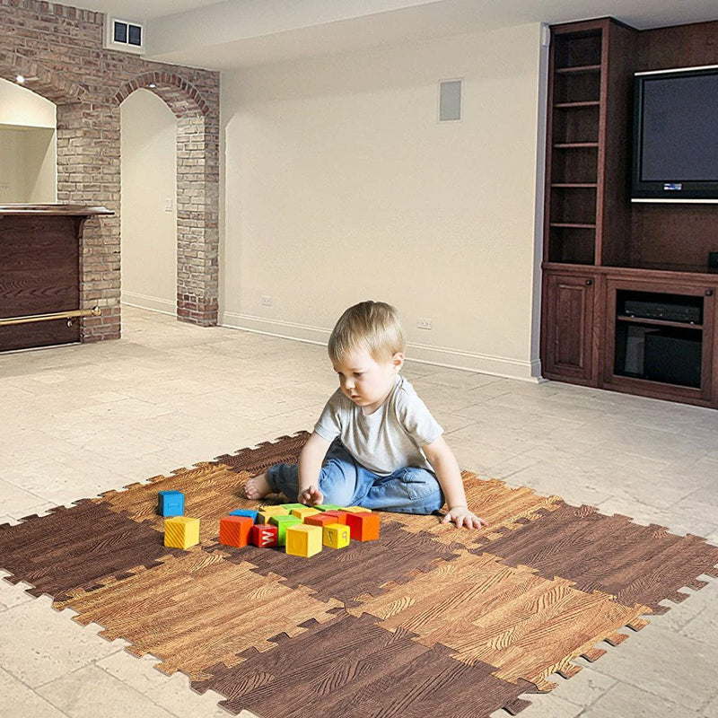 9-Piece Set: HemingWeigh Printed Wood Grain Interlocking Foam Floor Puzzle Mats Home Essentials - DailySale