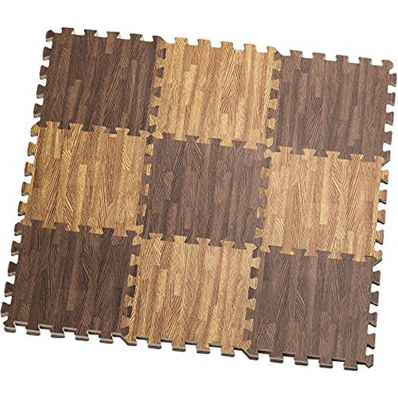 9-Piece Set: HemingWeigh Printed Wood Grain Interlocking Foam Floor Puzzle Mats Home Essentials Light Brown/Brown - DailySale