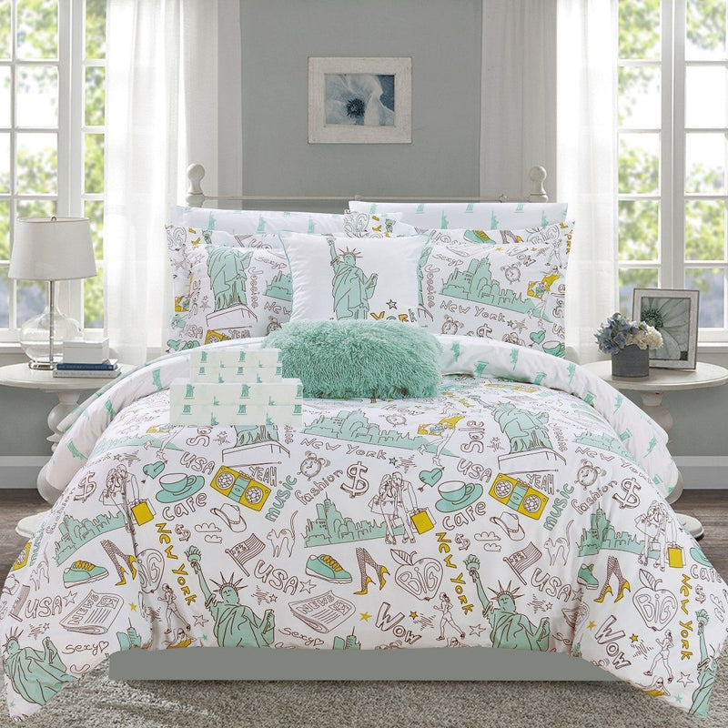 9-Piece Set: Liberty Reversible Comforter Set New York Theme Printed Design Bed Linen & Bedding Twin Green - DailySale