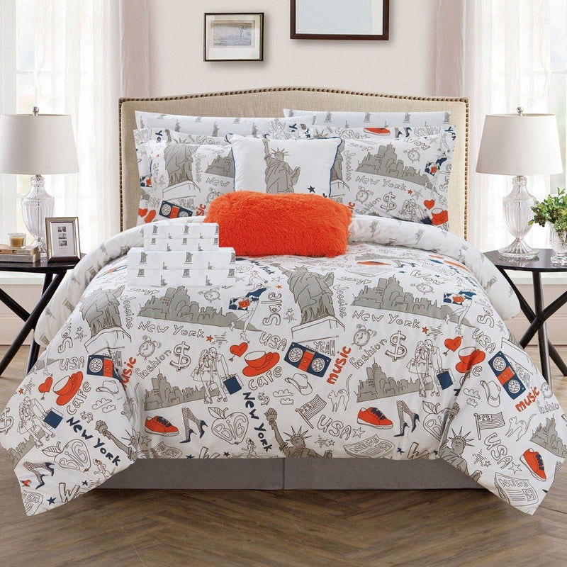 9-Piece Set: Liberty Reversible Comforter Set New York Theme Printed Design Bed Linen & Bedding Twin Orange - DailySale
