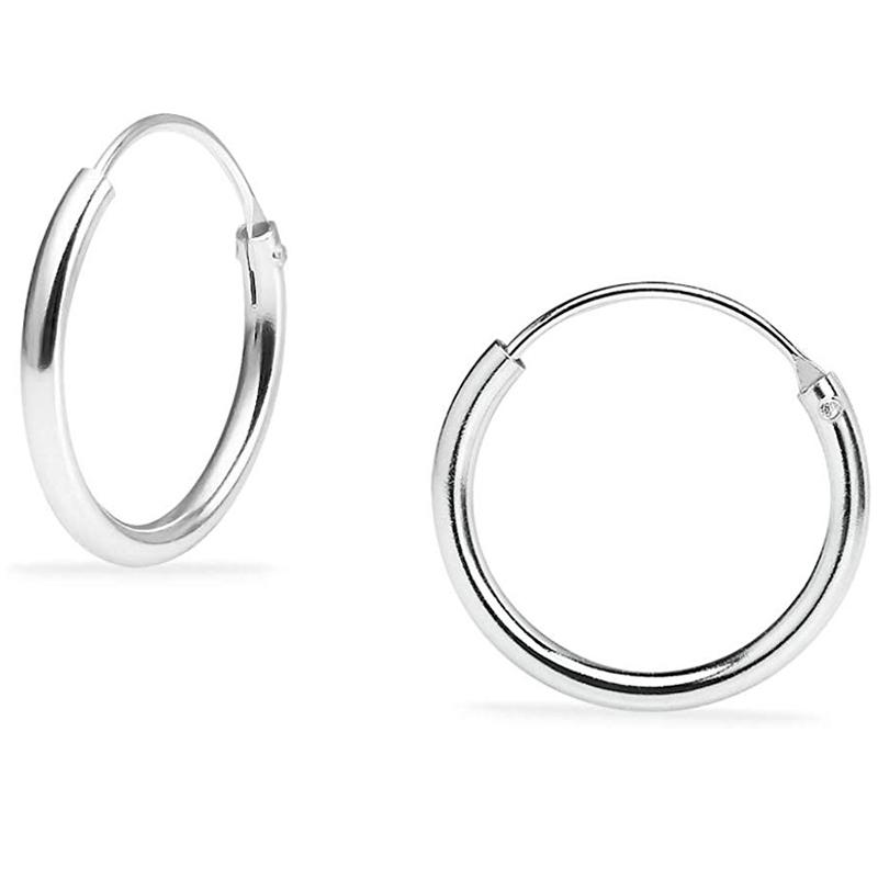 925 Solid Sterling Silver Endless Hoop Earrings - Assorted Sizes Jewelry 14mm - DailySale