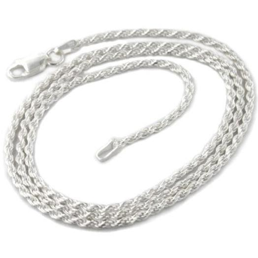925 Sterling Silver 1.5mm Diamond Cut Rope Chain Necklaces - DailySale