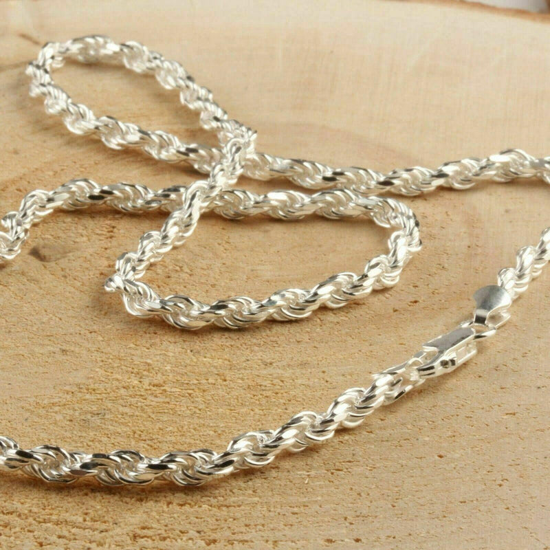 "925 Sterling Silver Diamond-Cut Rope Chain 3.5MM Jewelry 18"" - DailySale"