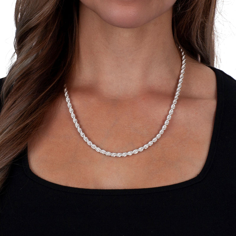 925 Sterling Silver Diamond Cut Rope Chain Necklaces - DailySale