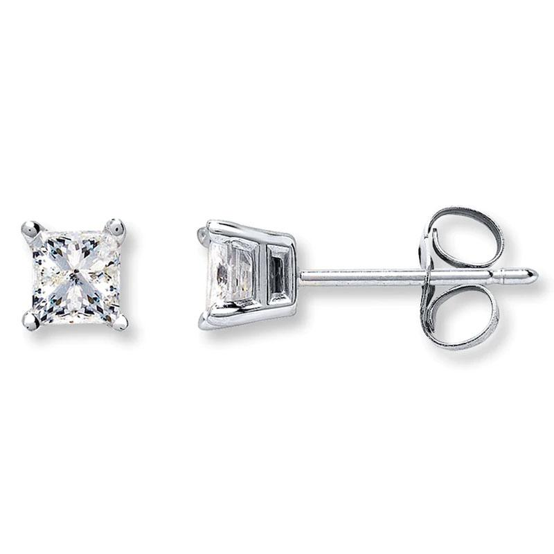 925 Sterling Silver Princess Cut Cubic Zirconia Stud Earring Jewelry - DailySale