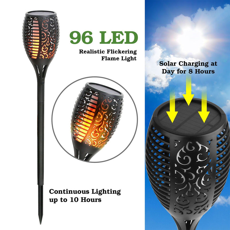 96 LEDs Solar Flame Torch Light Garden & Patio - DailySale