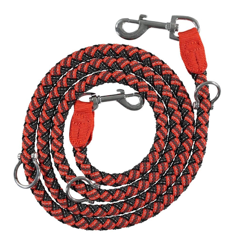 Adjustable and Stretchable Reflective Double Dog Leash Pet Supplies XS Red - DailySale