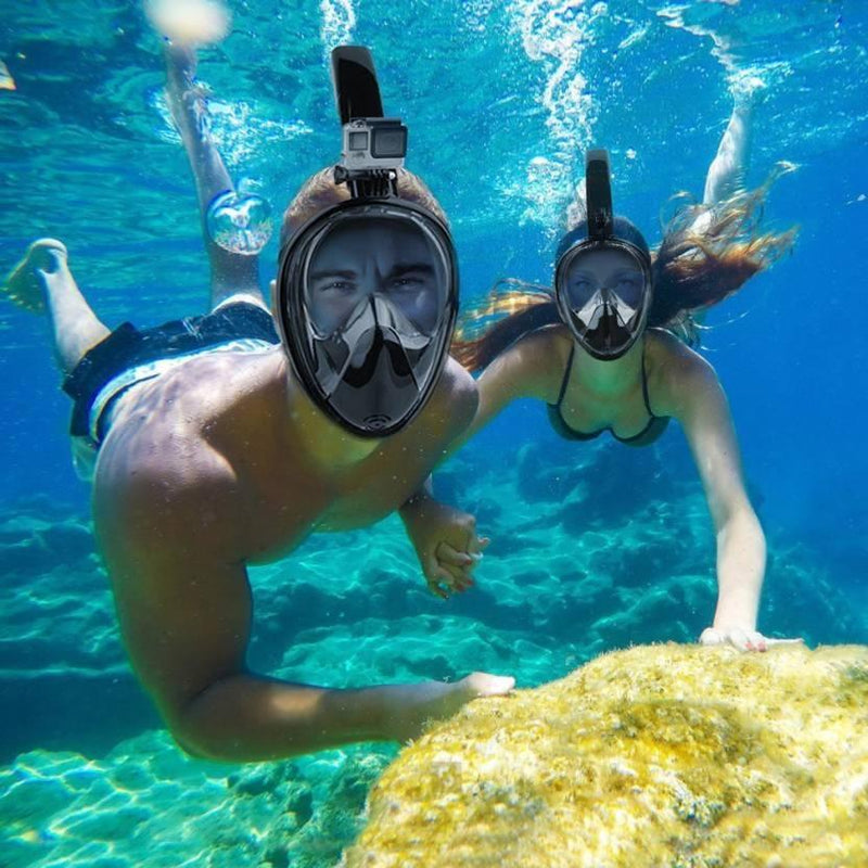 Adjustable Full-Face Snorkel with Attachment for Sports Camera Sports & Outdoors - DailySale