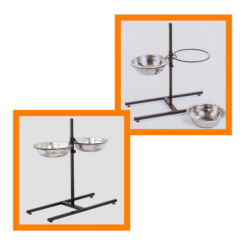 Adjustable Metal Pet Dog Feeder Bowls Elevated Stainless Steel Double Bowl Dish Pet Supplies - DailySale