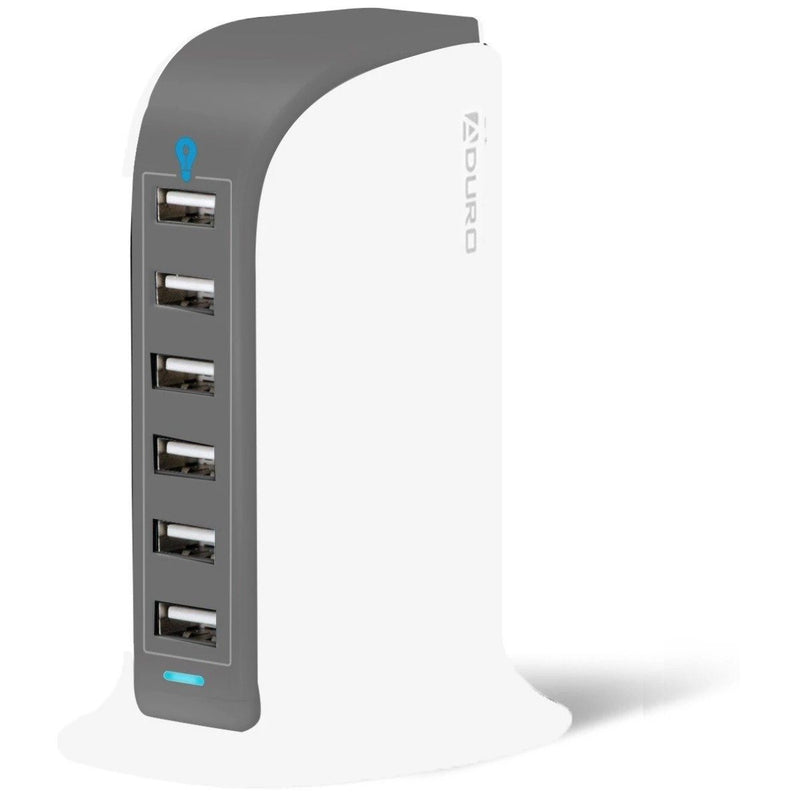 Aduro Powerup 6 Port USB Home Charging Station Gadgets & Accessories White/Gray - DailySale