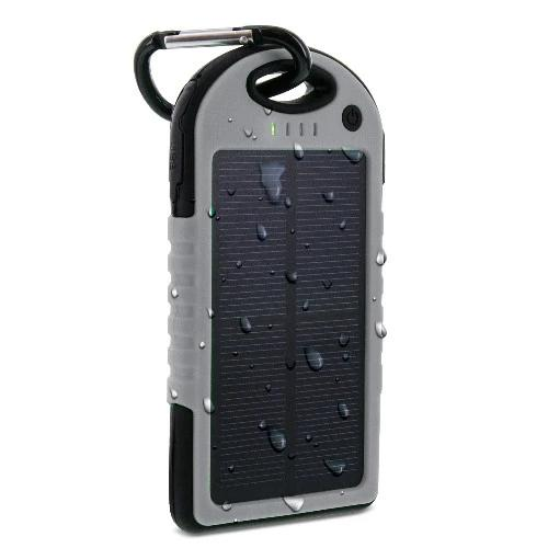 Aduro Powerup Solar 6,000 mAh Portable Backup Battery Sports & Outdoors Gray - DailySale