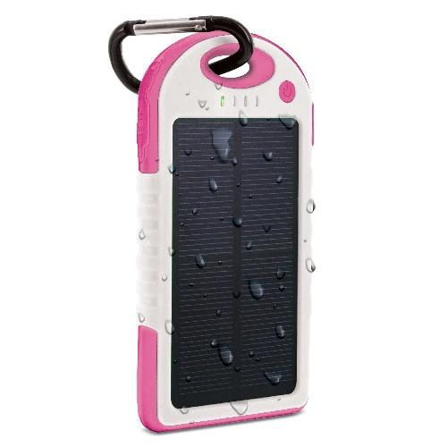Aduro Powerup Solar 6,000 mAh Portable Backup Battery Sports & Outdoors Pink - DailySale
