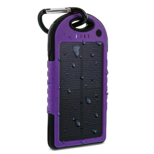 Aduro Powerup Solar 6,000 mAh Portable Backup Battery Sports & Outdoors Purple - DailySale