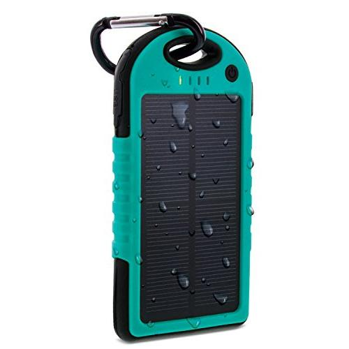 Aduro Powerup Solar 6,000 mAh Portable Backup Battery Sports & Outdoors Turquoise - DailySale