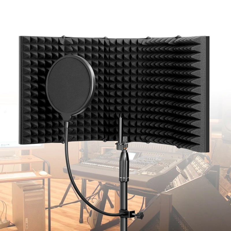 AGPtEK 5 Foldable Absorbing Foam Reflector with Mic Pop Filter Recording Equipment Everything Else - DailySale