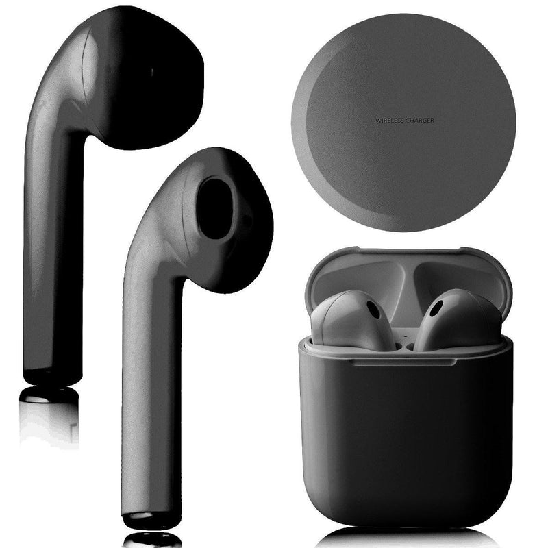 Airbuds Wireless Bluetooth Earphones with Charging Case and Bonus Qi Charging Mat Headphones & Speakers Black - DailySale