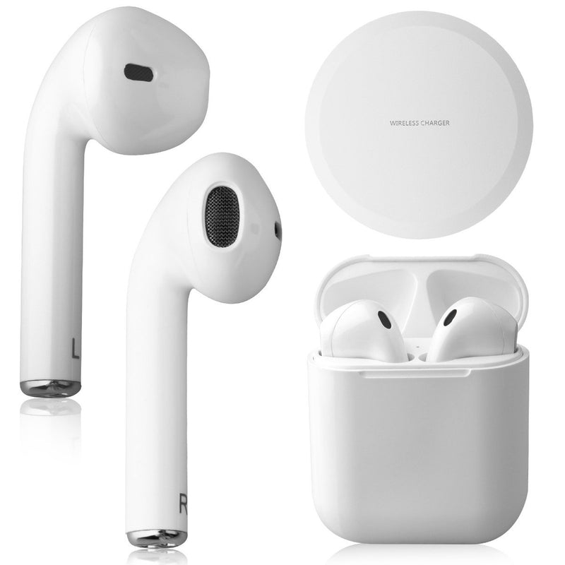 Airbuds Wireless Bluetooth Earphones with Charging Case and Bonus Qi Charging Mat Headphones & Speakers White - DailySale