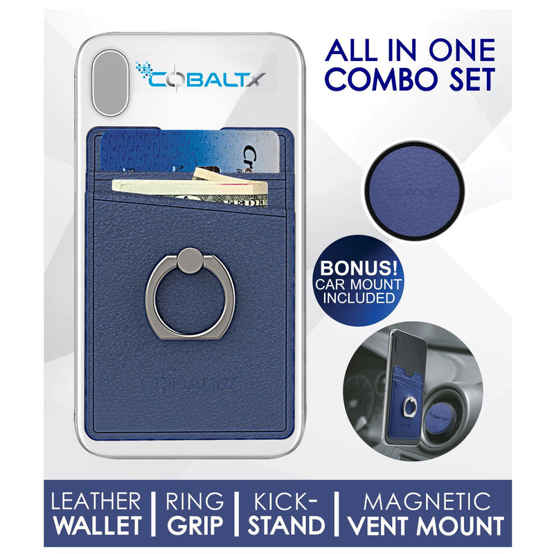 All-in-One Ring Grip Wallet and Magnetic Airvent Mount Combo Pack