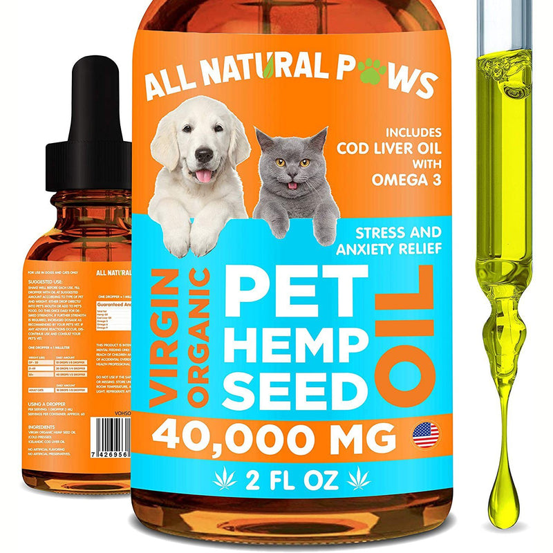 All Natural Paws Pet Hemp Seed Oil for Cats and Dogs Pet Supplies - DailySale