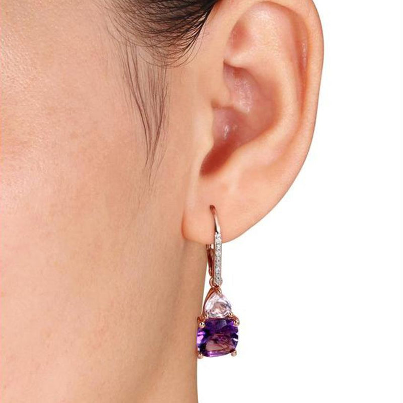 Amethyst and Tanzanite Duo Stone Dangling Leverback Earrings Jewelry - DailySale