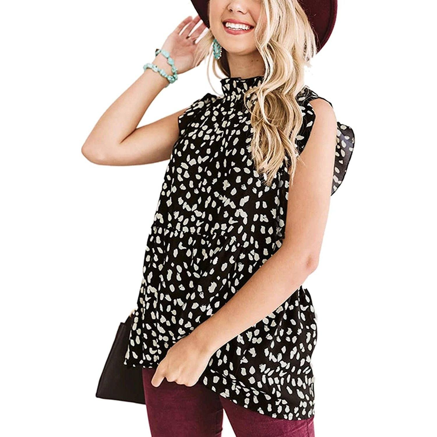 Angashion Women's Casual Floral Print Babydoll Blouse Tunic Tops / Black / Small
