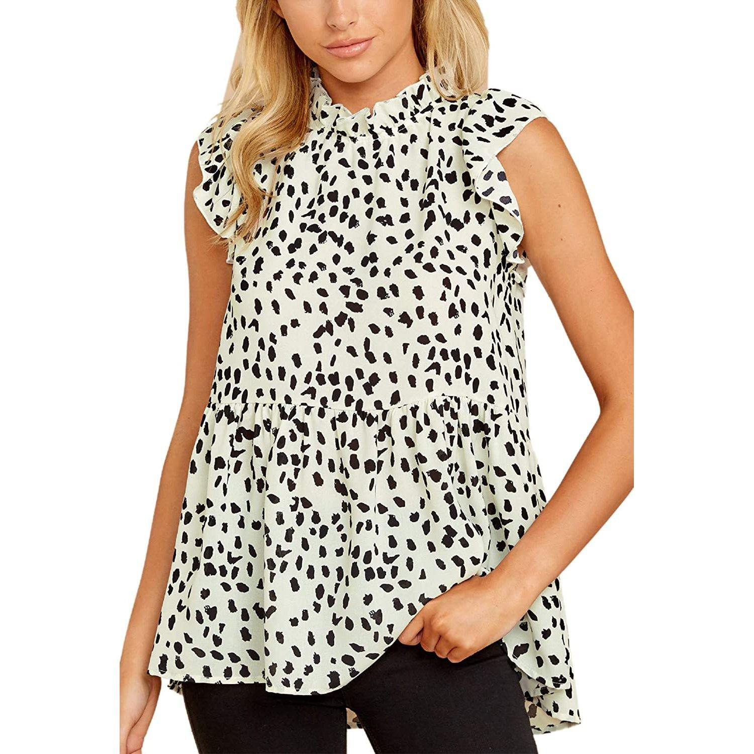 Angashion Women's Casual Floral Print Babydoll Blouse Tunic Tops / White / Small