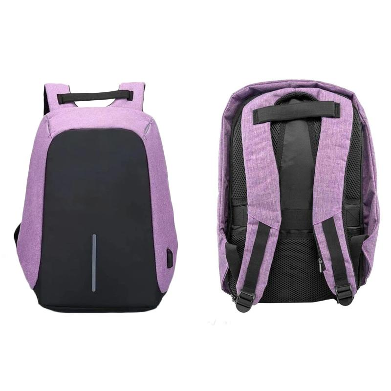Anti-Theft Backpack with USB Charging Port Handbags & Wallets Purple - DailySale