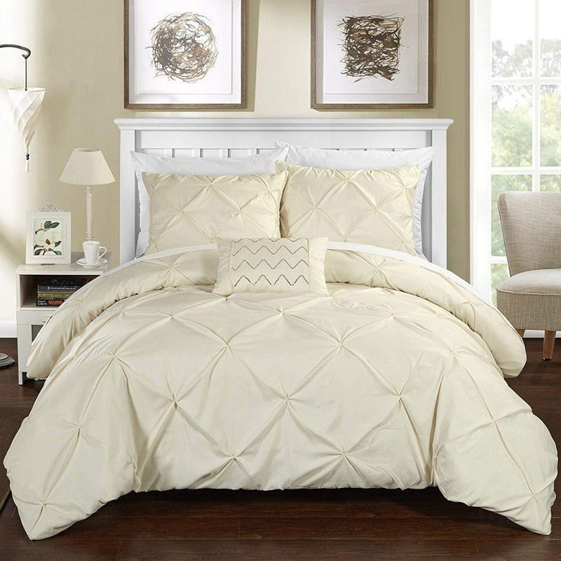 Armi Pinch-Pleated Microfiber Duvet Cover Set Linen & Bedding King Beige - DailySale