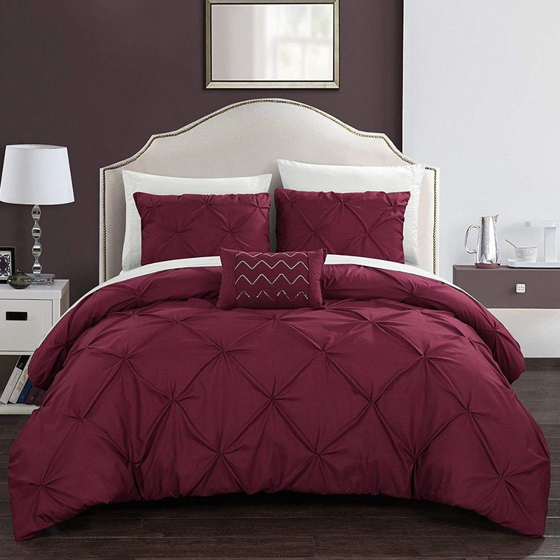 Armi Pinch-Pleated Microfiber Duvet Cover Set Linen & Bedding King Burgundy - DailySale