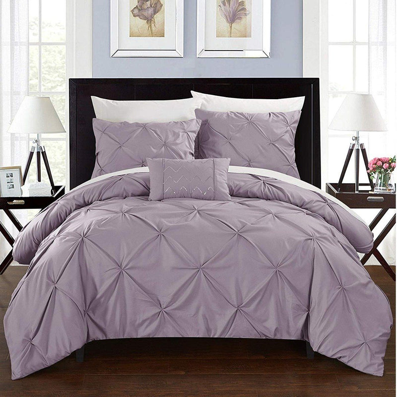 Armi Pinch-Pleated Microfiber Duvet Cover Set Linen & Bedding King Lavender - DailySale