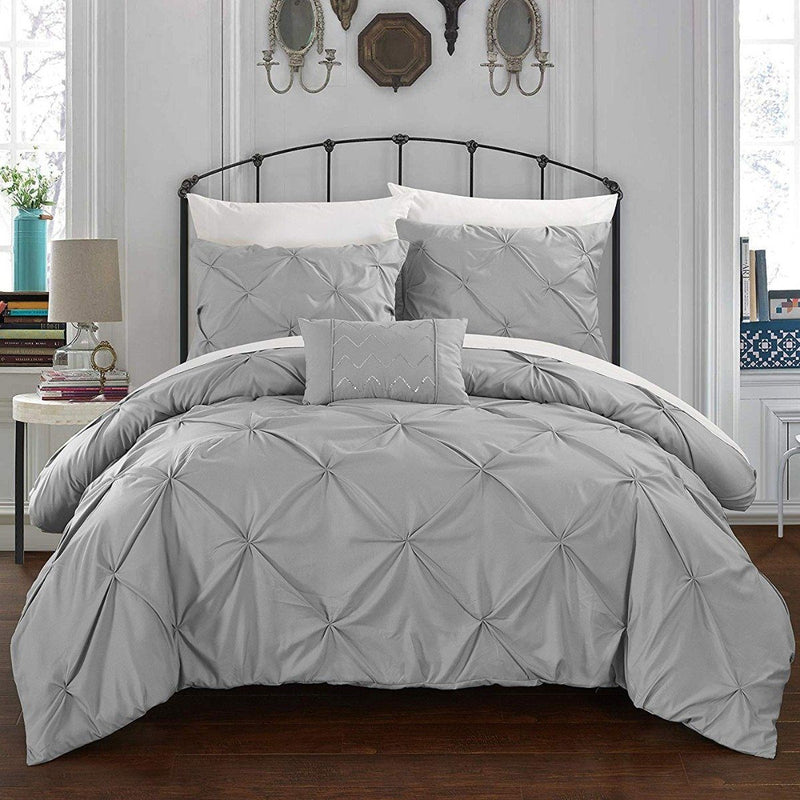 Armi Pinch-Pleated Microfiber Duvet Cover Set Linen & Bedding King Silver - DailySale